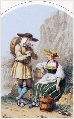 Traditional Switzerland national costumes. Swiss folk dresses. Clothing from Canton of Uri
