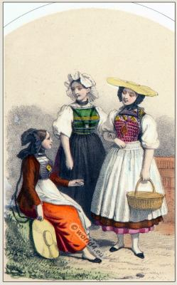 Traditional Switzerland national costumes. Swiss folk dresses. Clothing from the Canton of Soleure.