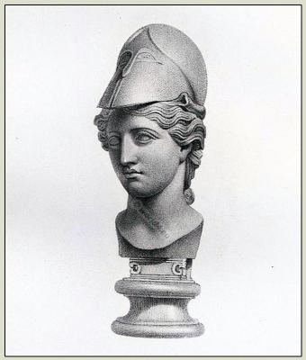 Ancient Roman Costume. Minerva with helmet. Headdress. Goddess. Antique Hairstyle. Imperial sculpture