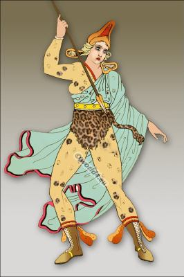 Amazon warrior. leopard skin. Ancient female soldier. Greek vase.