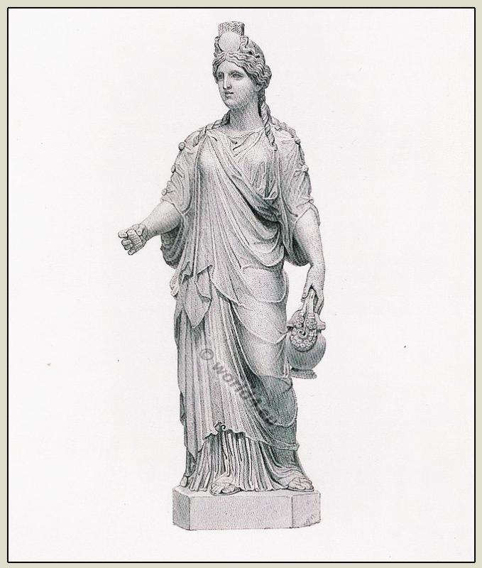 Ancient, Roman, Statue, Ceres, Tunica, Chiton, Marbles, British Museum,
