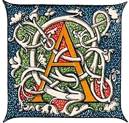 Middle ages initial letter, middle ages book decoration, Henry Shaw