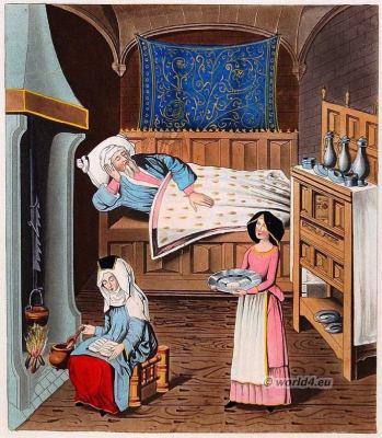 Medieval room interior, 15th century. middle ages, lifestyle,costumes, Henry Shaw
