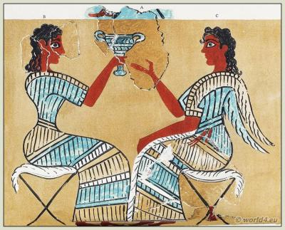 Ancient Minoan Costumes. The Camp-Stool Fresco. The Palace of Minos at Knossos.