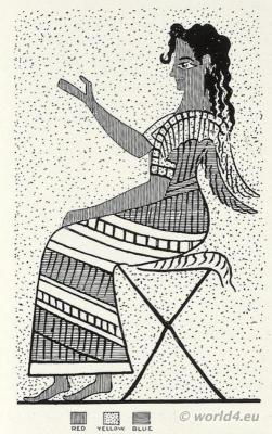 Seated Figure of Boy Votary costume. Ancient Minoan culture. The Palace of Minos at Knossos.