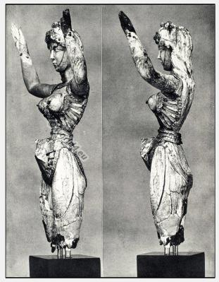 Lady of the Sports. Knossos Minoan costume. Ancient Greek clothing. Antique Greece statue. Matriarchy