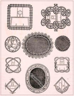 Rococo shoe buckles, Shoe design 18th century. Encyclopédie Denis diderot.