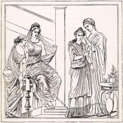 Ancient Roman Costumes. Roman bride at Toilet. The Corset and the Crinoline.