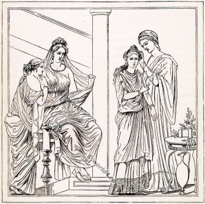 Ancient Roman Costumes. Roman bride at Toilet. The Corset and the Crinoline.