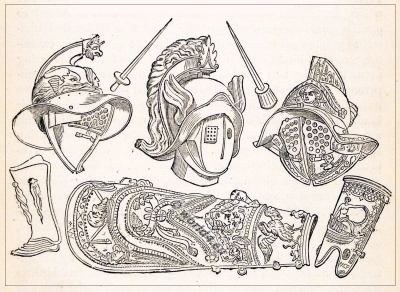 Ancient Roman gladiator helmets and weapons
