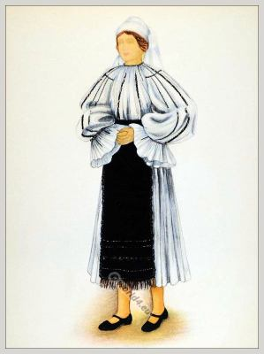 Romanian folk costume. Romania national costumes. Traditional embroidery patterns