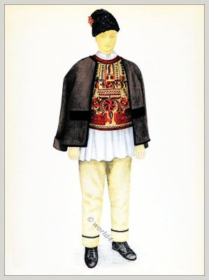 Romanian Târnava Sibiu folk costume. Transylvania national costumes. Traditional embroidery patterns