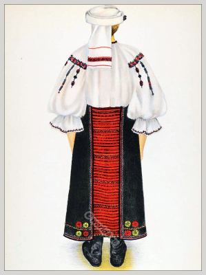 Romanian Târnava folk costume. Romania Transylvania national costumes. Traditional embroidery patterns