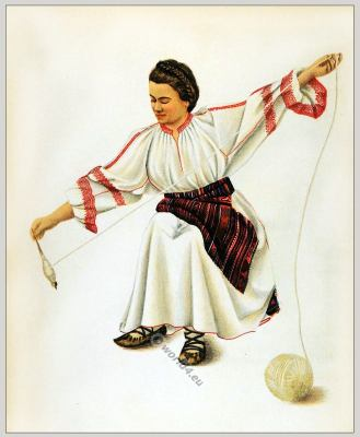 Alba Romanian folk costume. Romania Transylvania national costumes. Traditional embroidery patterns