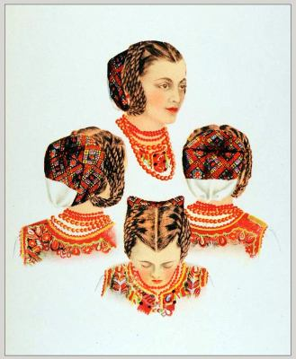 Romanian Hairstyles Hundiedoara. Romania Transylvania national costumes. Traditional embroidery patterns