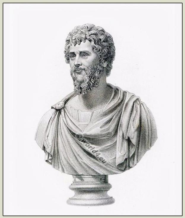 Roman emperor Septimus Severus in paludamentum. Ancient clothing, hairstyle, fashion