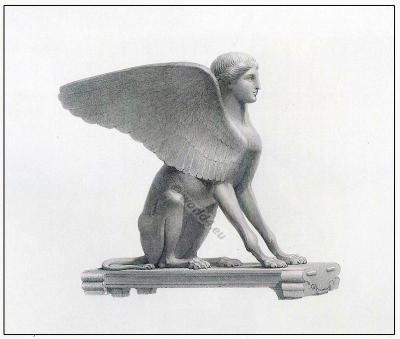 Sphinx. Fantasy character. Greece Sculpture. figure. Ancient Greek mythology.