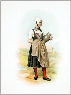 Traditional Switzerland costume. Swiss folk costume. Clothing Canton of Zurich.