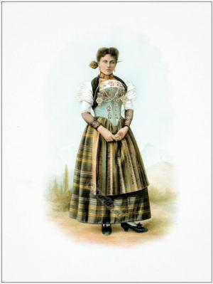 Traditional Switzerland national costumes. Swiss folk dresses. Clothing from the Canton of Unterwalden.