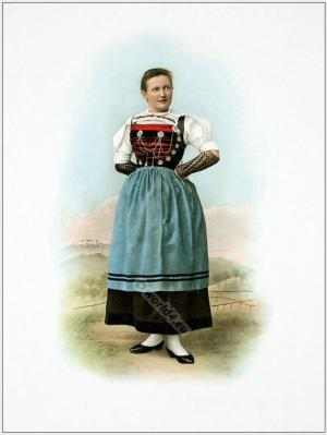 Traditional Switzerland national costumes. Swiss folk dresses. Clothing from the Canton of Zurich Rafzerfeld