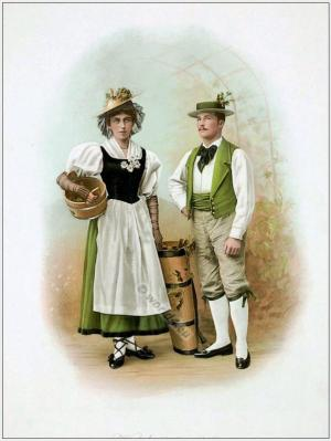 Traditional Switzerland national costumes. Swiss folk dresses. Clothing from Canton of Waadt