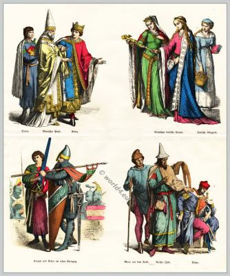 Medieval Gothic costumes, Middle Ages fashion history. 12th century fashion