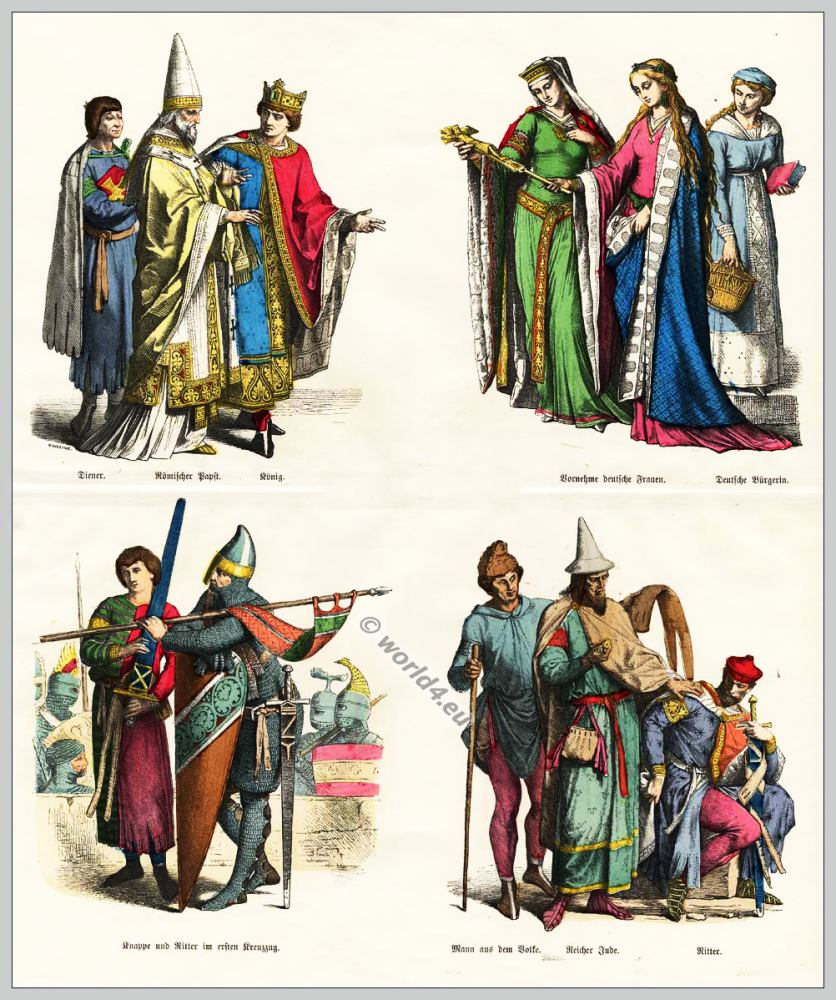 51f85242f78b Medieval Gothic costumes, Middle Ages fashion history. 12th century fashion