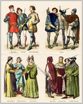 14th century clothing in Italy. Burgundian, Burgundy costumes. Middle ages gown. Gothic dress.