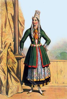 Iceland national costume. Traditional woman dress. Icelandic folk dresses