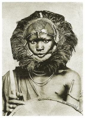 African tribe costume. Masai warrior. lion headdress. Traditional Kenya dress. Tanzania clothing