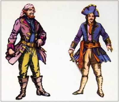 Caribbean Pirates costumes.  Jack Sparrow, Captain Hook,  Davey Jones outfit. Halloween and Theater  costume