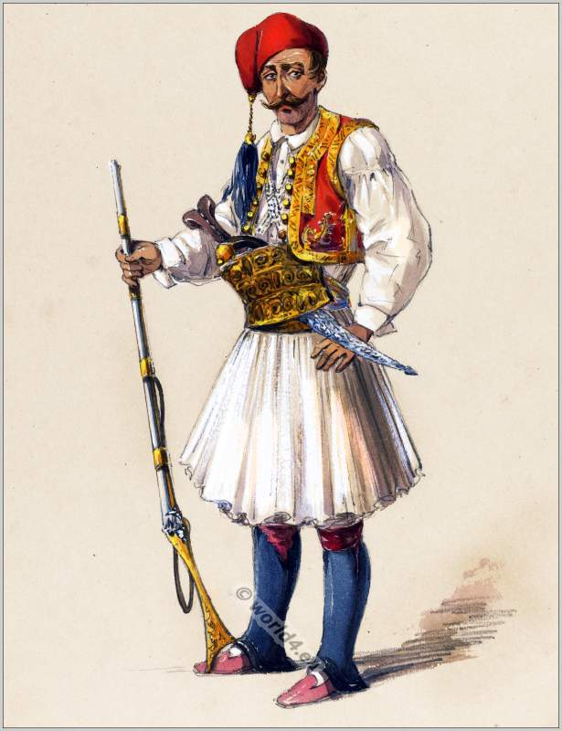 Albanian Soldier In Fustanella During Ottoman Empire