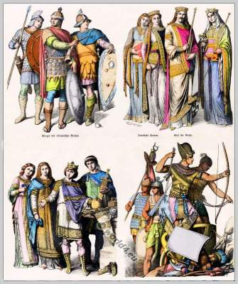 Eastern 10th century clothes. Medieval costumes.. Warriors, Roman Empire, Byzantium, Emperor Charles the Great, Empress. Frankish,