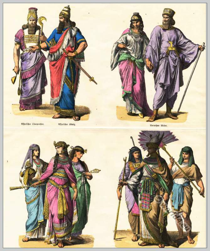 Assyrians, Medes and Egyptians costumes. Antique clothing and fashion