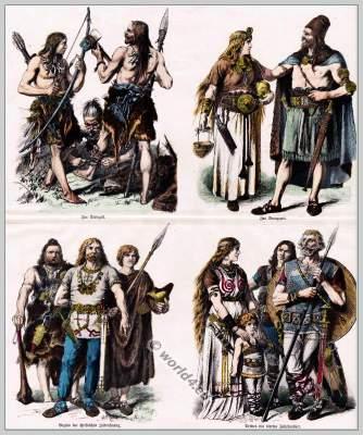 Ancient Germans, Teutons clothing, Teutonic costumes, Bronze Age garment.