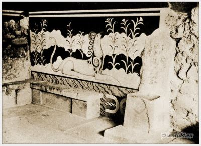 Ancient Greece architecture. Crete Knossos. The Palace of Minos. Sir Walter Evans. Greek Archaeology Labyrinth.