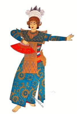 Bali national costume. Legong. Woman dancing, secular dance.