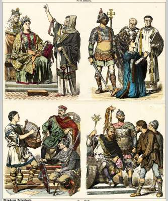 Carolingian costume history. Carolingian clothing. Middle ages fashion. Carlovinienne