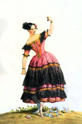 Fanny Elssler, Cachucha, Spanish dance, costume