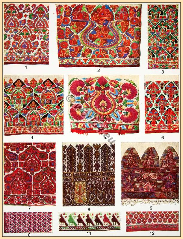 Traditional Greek embroidery patterns. Old Greece needle work.