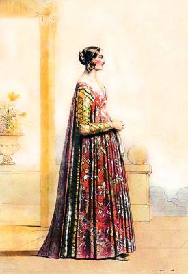 Italian renaissance costume. 14th century clothing. Moda Rinascimento italiano.