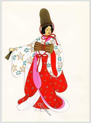 Traditional Japan national costume. Antique kimono. Court dress.