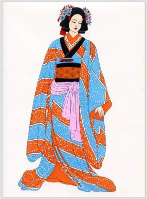 Traditional Japan national costume. Antique kimono. Japanese puppet theatre