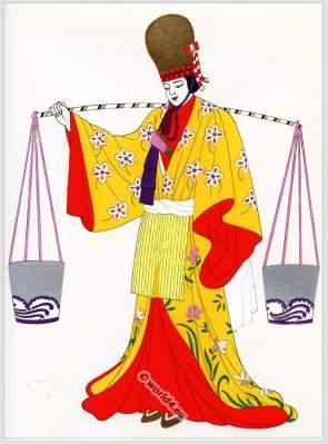 Traditional Japan national costumes. Antique kimono.