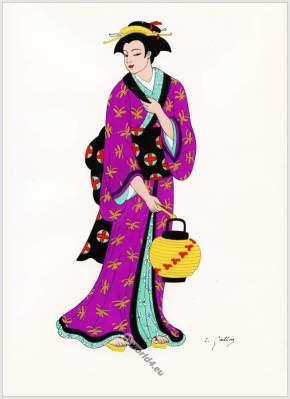 Traditional Japan national costumes. Antique kimono. Nō Theater, Bunraku, Bougakou costume, dresses