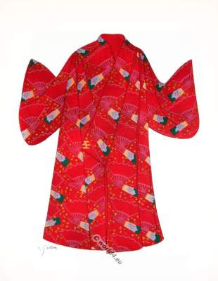 Costume Nō, XIII century. Traditional Japan national costumes. Antique kimono. Japanese Geisha costume.