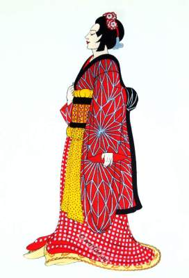 Puppet theater in Osaka. Traditional Japan national costumes. Antique kimono. Japanese Geisha costume. Ningyō jōruri clothing