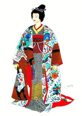 Traditional Japan national costumes. Antique kimono. Japanese Geisha costume. Wedding dress. Headdress and Hairstyle.