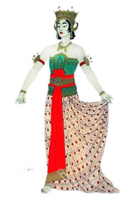 Traditional Java Bedaya national costumes. Woman dancing costume.