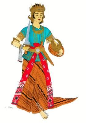 Traditional Java Serimpi dance costume. Tari Serimpi, Bedaya-Serimpi Indonesian ethnic costumes.
